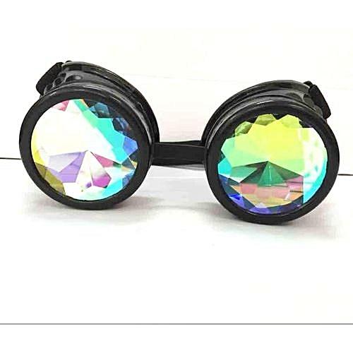 96a661c8d0d1 UNIVERSAL Festivals Rave Kaleidoscope Rainbow Glasses Prism Diffraction  Crystal Lenses 3D Black