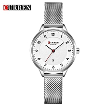Female Quartz Watch Date Display Ultra-Thin Knit Strap Ladies Top Brand Wristwatch For Women - Silver
