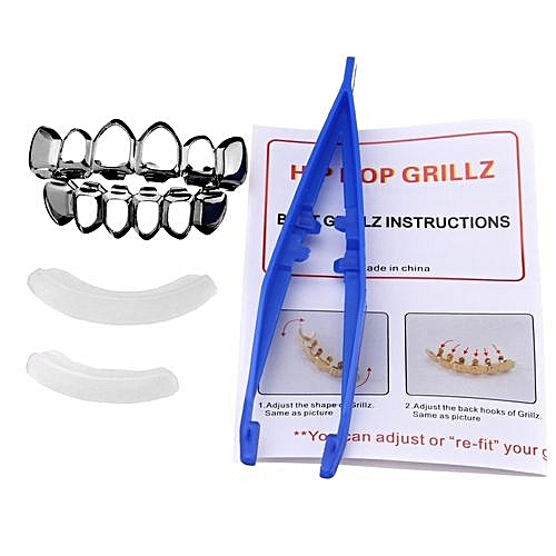 Gold Silver Plated Custom Fit Hip Hop Teeth Grillz Top Bottom Grills Teeth  Mouth Black