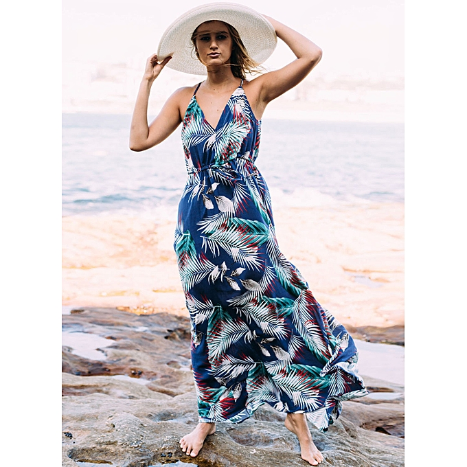 644a19f51e Generic Nice Beach Dress Bohemian Beach One-Piece Dress-blue @ Best ...