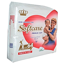 Premium Jumbo Large Diapers Soft - 9.1 to 15 Kgs - Size Medium - Count 64.