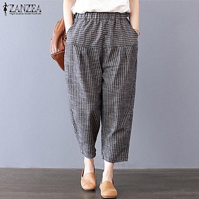 7f4a082c437 ZANZEA Women Holiday Striped Baggy Oversize Harem Pants Cargo Loose Trousers