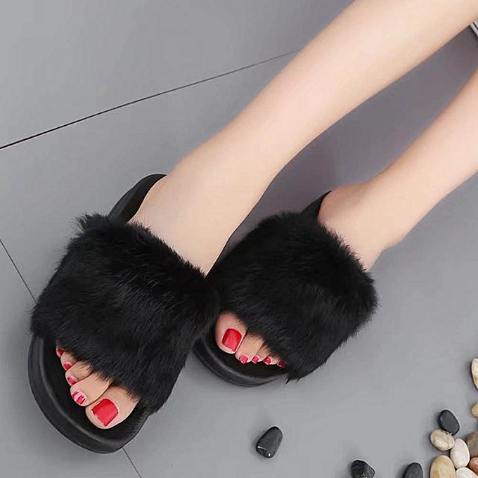 417fe86abf8 Xiuxingzi Womens Flat Non-slip Soft Fluffy Faux Fur Flat Slipper Flip Flop  Sandal BK