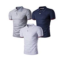 3 pieces Men's Comfort Soft Short Sleeve Polo T-shirt Multicolor
