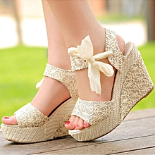 Summer Fashion Womens Lady High Heel Platform Sandals Bowknot Ankle Shoes Beige