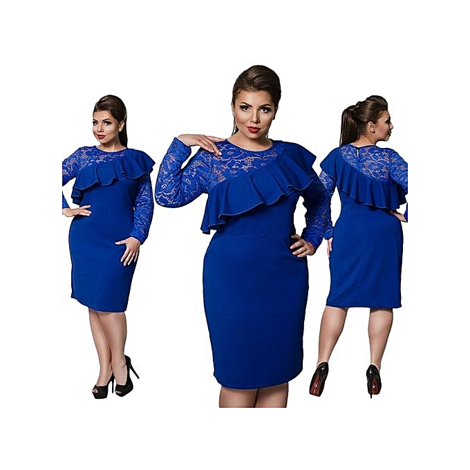 Buy Fashion 6xl Large Size Ladies Dress Big Size Casual Lace Office