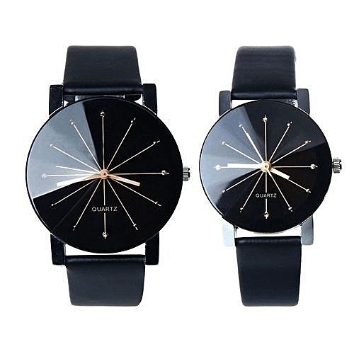 2 Men And Women Quartz Dial Clock Leather Wrist Watch Black
