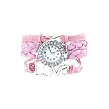 Antique Infinity Love Charm Leather Crystal Bracelet Watch Pink