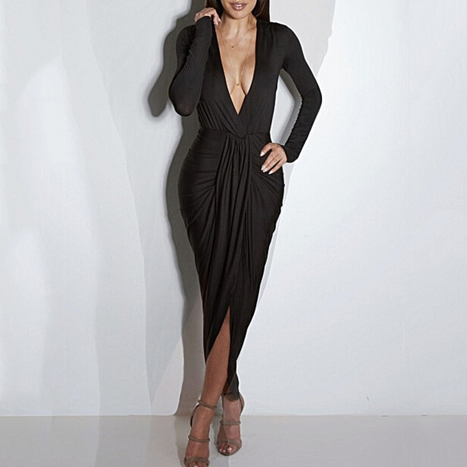 52e041b04a23e Sexy Women Maxi Dress Solid Deep V Neck Split Ruched Long Sleeve Slim Party Long  Dress