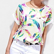 914e664a1d9ff7 Xiuxingzi Women Feathers Chiffon Blouse Top Casual Short Sleeve Loose  T-Shirt M