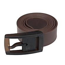 Hiamok_Men Womens Unisex Smooth Silicone Rubber Leather Belt Plastic Buckle New BW