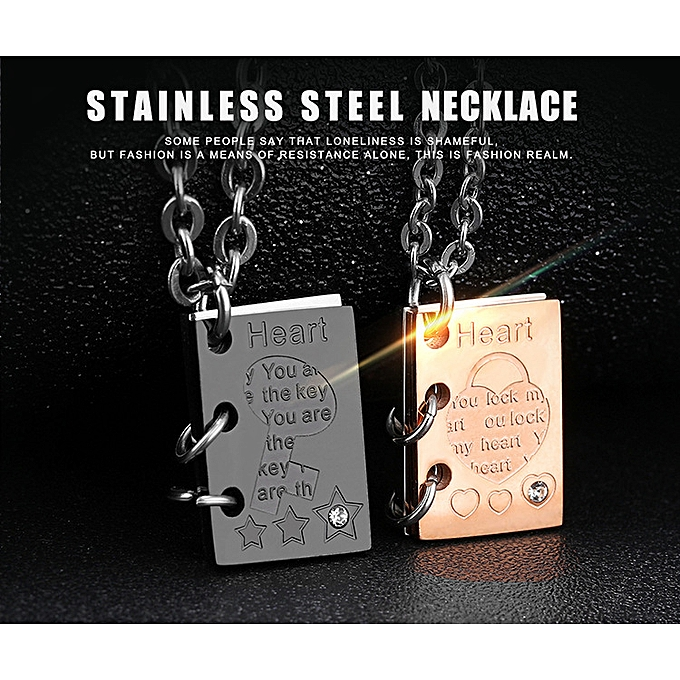 be22f44942 OPK Heart Lock Key Insert Stone Love Letter Pendant Titanium Steel Couple  Necklace Laser Engraved Birthday