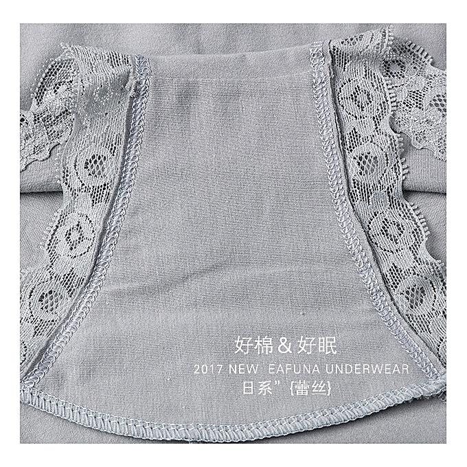 30b3dd2182 ... Lace high waist underwear women no trace large size comfortable  breathable cotton briefs-light grey ...