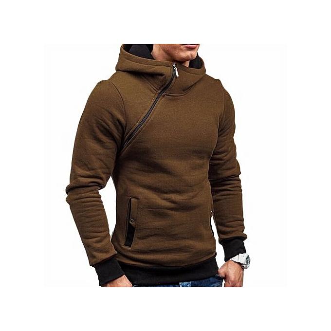 bluerdream-Men's Autumn Winter Long Sleeve Zipper Hooded Sweatshirt Tops Blouse BW/L- Brown
