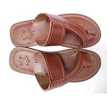 African Men Open Sandals - Brown