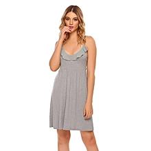 Women Spaghetti Strap Sleeveless Solid Ruffle Mini Nighties Sleepwear Dress ( Grey )