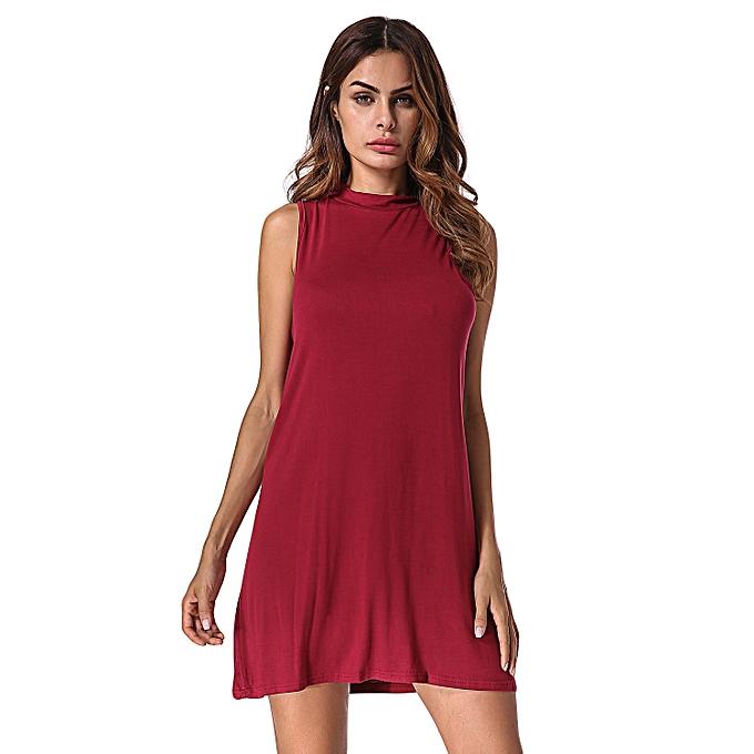 5de5fe26e19a ZANZEA Women Mini Dress Mock Neck Sleeveless Tops Casual Tank T-shirt  Dresses (Wine
