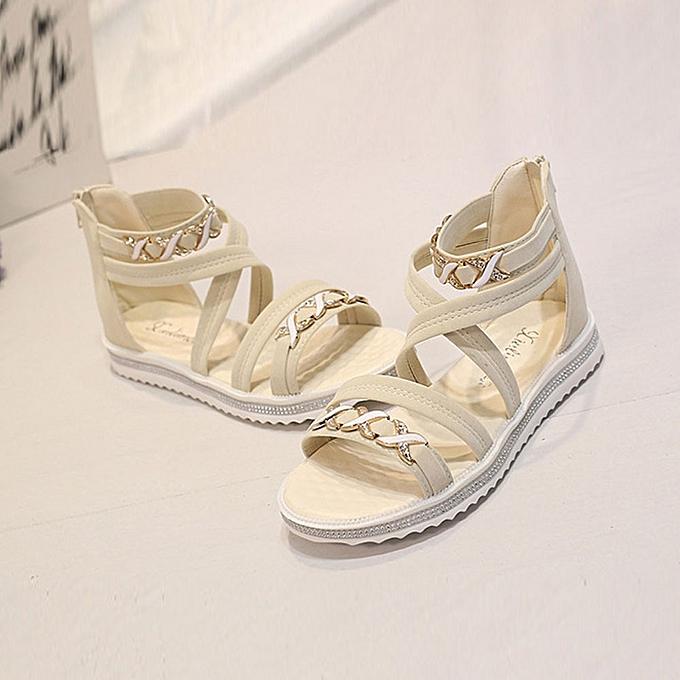 8dcc4833a96 ... huskspo Women Flat Shoes Summer Soft Leather Leisure Ladies Sandals  Beige 38 ...
