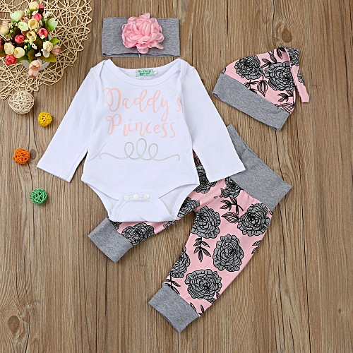 Generic Newborn Infant Baby Letter Romper Tops+Floral Pants Hat Outfits  Clothes Set   Best Price  5bb6a73895f9