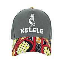 Dark Grey And Red Baseball / Sports Hat With Kelele Color On Brim