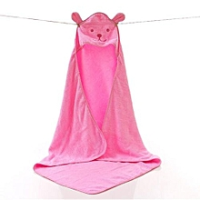 100% COTTON BABY HOODED TOWEL- PINK