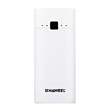 HAWEEL DIY Portable PowerBank Case Shell Box USB Port With Indicator For IPhone For Samsung 2x18650 Battery 5600mAh (No Battery) White