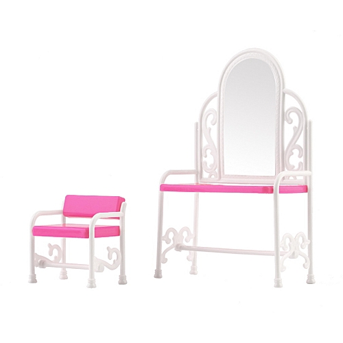 Dressing Table Chair Accessories Set For Barbies Dolls Bedroom Furniture Pink