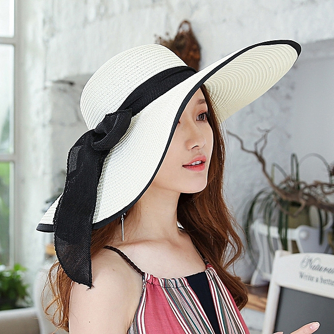 bca0a73183fc0 1Big butterfly-milk white black sideThe sun protection Han Ban Xin s style  of straw hat