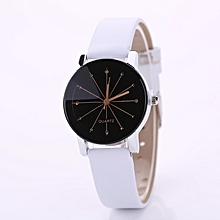 DUOYA XR1565-S Women Simple Leather Band Analog Quartz Wrist Watch - WHITE