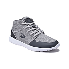 Light Gray Textured Hi-Top Lace-Up Sneaker