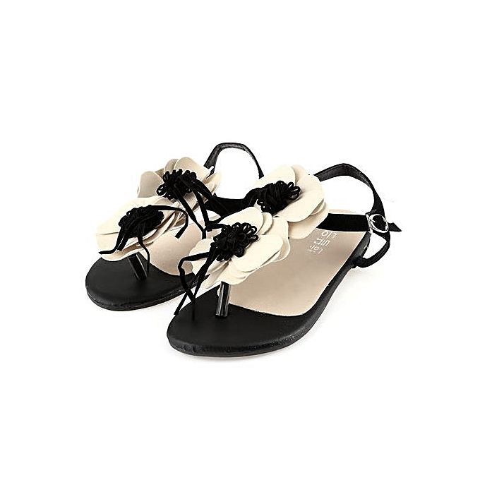 bbe725823248 Fashion Casual Ladies Flip-flop Sandals Floral Embellishment Buckle ...
