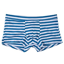 Men's Underwear Intimates  Sexy Mens Stripe Flat Angle Underwear Briefs Shorts Pouch Soft Underpants  @ Blue