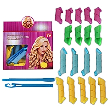CO Plastic Magic Hair Curler Rollers Pear Head Hooks Kit Styling Tools-random