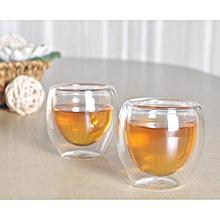 4 pcs X 80ML Double Wall Coffee Glass Mug Cups Insulate Office Tea Mug
