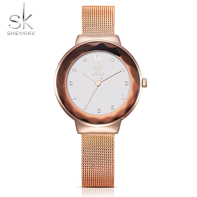 02ecdb130 SK 2017 Luxury Diamond Mesh Stainless Steel Women Watches Quartz  Water-Proof Ladies Casual Wristwatch