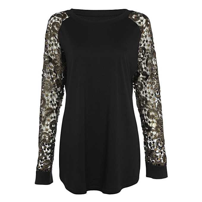 9f129175f6a Trendy Round Collar Long Sleeve Hollow Out Lace Crochet Women T-shirt -  BLACK