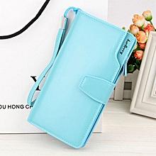 Baellerry Long Shaped Elegant Leather Women Phone Wallet- Sky Blue