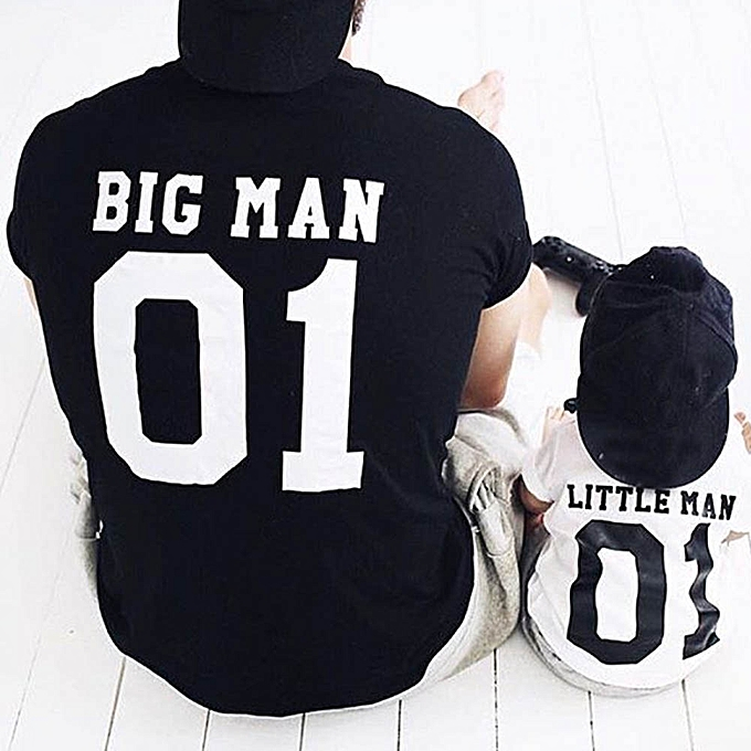 Casual Harajuku Dad And Son Boys Baby Men Family Little Man Print Matching