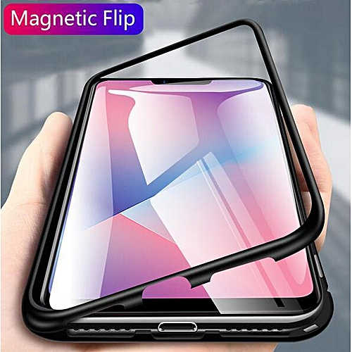 For OPPO A3s Hard Tempered Glass Shockproof Slim Magnetic Case Cover (Black)