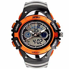 Fashion Kids Watches Sports 6 Colors Digital Rubber Children Watch Boy Waterproof 3Bar Gift Watches Student Stopwatch (Orange)