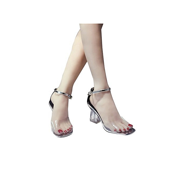 2264512ebbc Bliccol High Heel Shoes Fashion Women Transparent Sandals Ankle High Heels  Block Party Open Toe Shoes ...