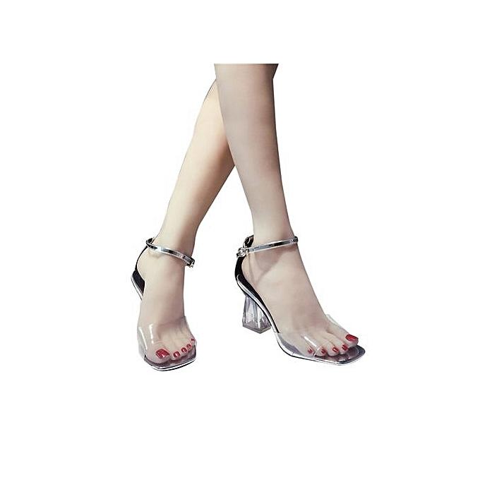 b407d206c61 Bliccol High Heel Shoes Fashion Women Transparent Sandals Ankle High Heels  Block Party Open Toe Shoes ...