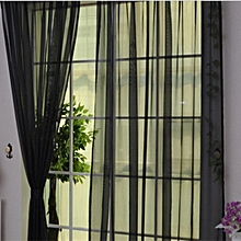 Home-Solid Color Tulle Translucent Window Curtain Drape Panel Sheer Scarf Valances - black
