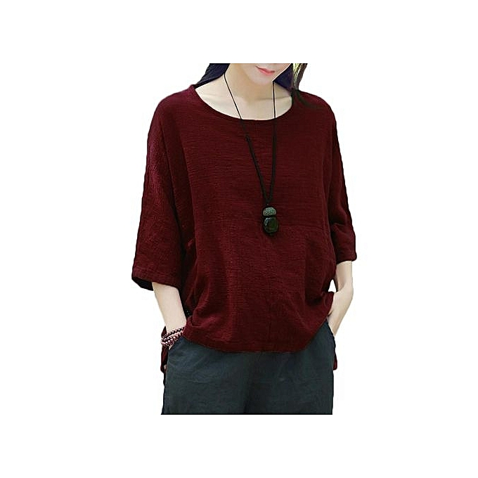 6a74006c738 ZANZEA Crew Collar Three Quarter Sleeve Blusas Female Autumn Purple Leisure  Irregular Stripe Cotton Stylish Long