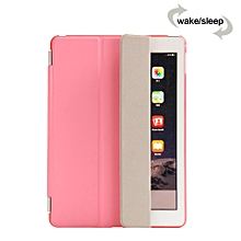 Smart Luxury PU Leather Ultra Slim Smart Magnetic Wake/Sleep Flip Pad Cover + Translucent Protect Case for Apple iPad Air 2 iPad 6 SM0056(Pink) Mll-S