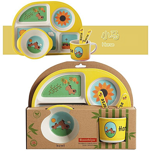 Children Dishes Baby Kids Child Bamboo Dinnerware Set Dinner Plates For  Food Dishes And Plates Sets of Plates Tableware Sets(Horse)
