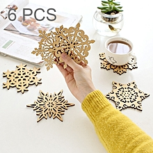 6 PCS Snowflake Hollow Wooden Carved Lace Coasters Table Pad Cup Mat, Size: 120 x 4mm, Random Style Delivery