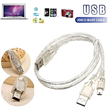 Dual USB Sync Charger Type A To MINI 5 Pin B Y Splitter Cable For 2.5 HDD Phones