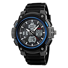 1192 Sports Brand Watch Men's Digital Quartz Alarm Wristwatches Outdoor Military LED Casual Watches - Blue