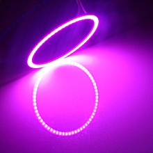 80mm 5W 180LM Angel Eyes Circles Car Headlight Pink COB LED Lights for Vehicles, DC 12-24V